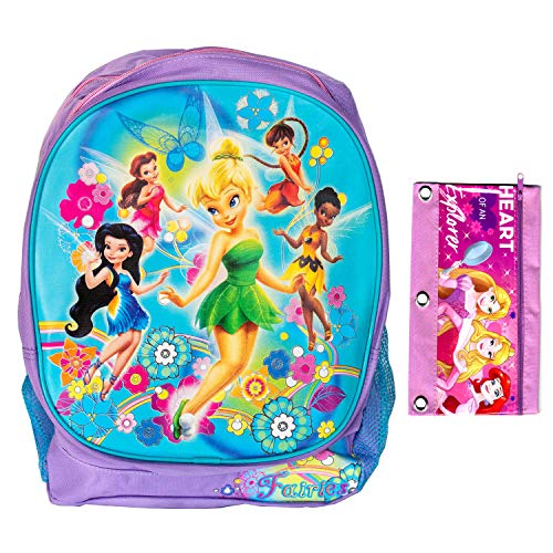 Disney Tinkerbell and Friends Backpack Book Bag Travel Toy Bag, Everyday Pouch Include a Pencil - Bags Travel Tinkerbell