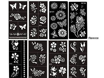 Mehandi Schablonen Vorlage Set Florence 8 Sheets Blumen Und