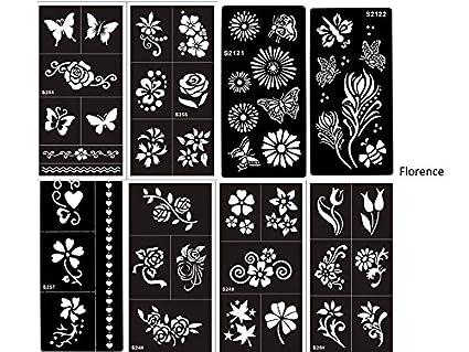 BEYOND Juego de plantillas, 8 hojas con flores y diseños de mariposas adecuados para tatuajes