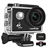 LeadEdge LE5000 Action Camera Ultra HD 4K/30FPS 1080P/60FPS 720P/120FPS 16MP WiFi Waterproof DV Sports Video Cameras Underwater Cam 2.4G Remote Control/Diving 30M/170 Degrees/1050mAh Battery