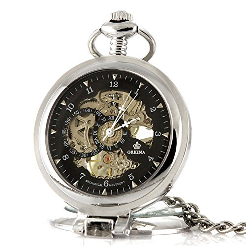 Carrie Hughes Vintage Open face Steampunk Skeleton Mechanical Pocket Watch with Chain CH79 by Carrie Hughes (Image #1)