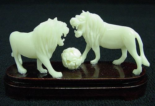 Lions Figurine Playing Ball Small Statue Asian Art Hand Carved Cow Bone Sculpture The Crabby Nook (Lion Statue Ball With)