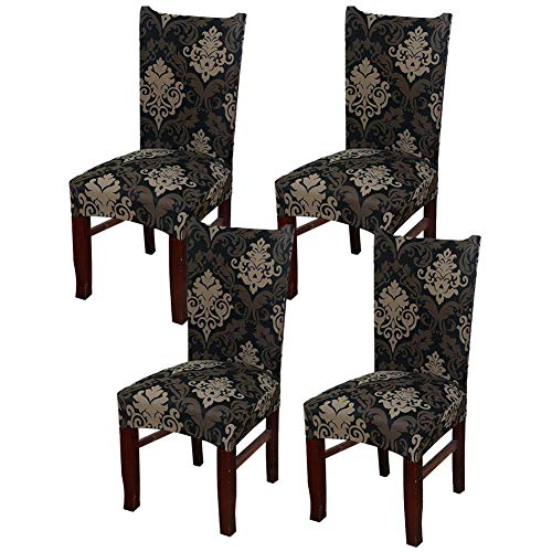 Aoliks Super Fit Stretch Removable Washable Short Chair Protector Cover Seat Slipcover Hotel,Dining Room,Ceremony,Banquet Wedding Party (Baroque, 4 Per Set) (Hotel For Chair Table Set)