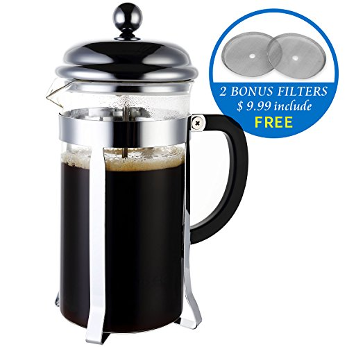 Miusco Heat Resistant Borosilicate Glass French Press Coffee Tea & Espresso Maker, 1 Liter 34 Oz ...