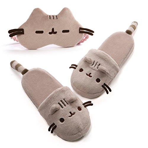 Gund, Pusheen Slippers and Pusheen Mask Travel Comfort Set ()