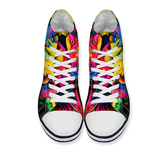 Women Sneakers High Fashion HUGSIDEA Floral 3 Girls Floral Canvas Top for xW7gR00Xn