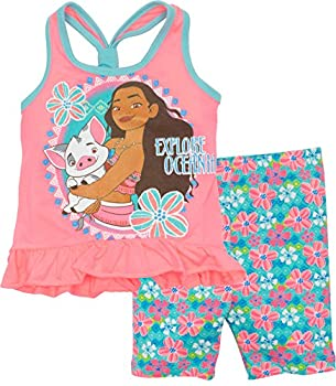 Disney Moana Toddler Girls' Ruffle Tank Top & Bike Short Set Pink (4t) 0