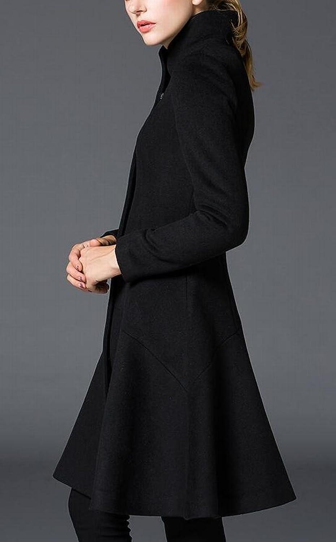 Unko Women Winter Woolen Trench Coat Stand Collar Overcoat