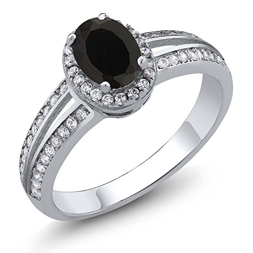 Black Onyx 925 Sterling Silver Women's Ring (0.99 cttw, 6X4MM Oval Center, Available in size 5, 6, 7, 8, (Oval Center)