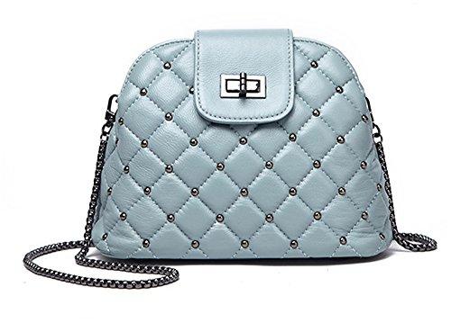 Bolsos de señora Xinmaoyuan Badanas conchas Remaches negros bolsos de hombro Paquete Messenger,azul Blue
