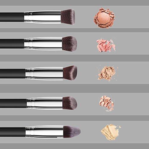 Makeup Brushes Set,Premium Synthetic Kabuki Foundation Face Powder Blush Eyeshadow Brushes Makeup Brush Kit (10pcs,Black/Silver)Alluremake