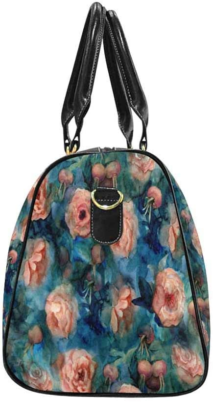 InterestPrint Waterproof Travel Bag Sports Duffel Tote Overnight Bag Orange Blooming Roses and Rose Hips