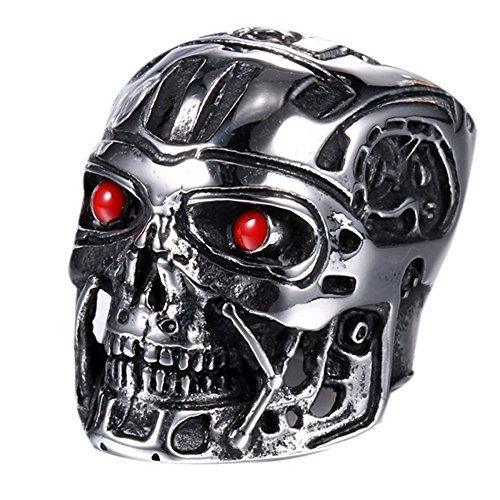 Punk Robot Mens Boys Stainless Steel Alien Metal Solid Ring