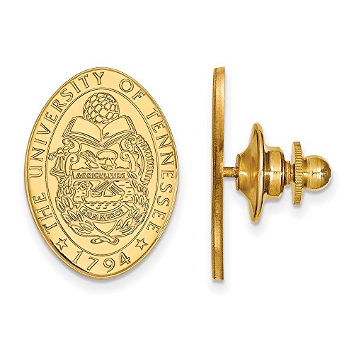 (Solid 925 Sterling Silver with Gold-Toned University of Tennessee Crest Lapel Pin (15mm x 21mm))