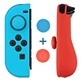 Mothca Joy-Con Gel Guards with Thumb Grip Caps, Protective Skin Anti-Slip Lightweight Comfort Blue and Red for Nintendo Switch