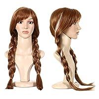 Anogol Free Hair Cap + Película Cosplay Wig Party Wigs Peluca de trenza marrón Peluca de Halloween (Marrón, 1 paquete)