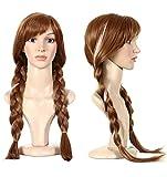 Anogol Free Hair Cap +Movie Cosplay Wig Party Wigs Brown Braid Wig Halloween Wig(Brown,1-Pack)