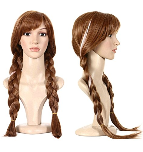 Anogol Hair Cap+Movie Cosplay Wig Brown Braid for Halloween Costume (Brown,1-Pack)]()