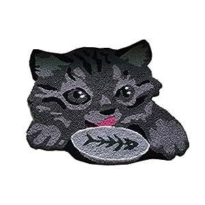 Sleeping Gray Cat Shaped Bedroom Anti-Slip Area Rug Floor Mats,Tabby Cat Art Carpet for Home Decretion