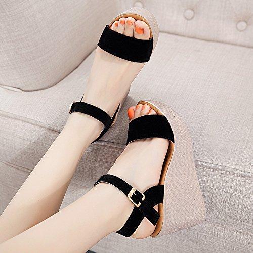 B con pesce YMFIE scarpe zeppa open bocca confortevole sandali moda da Estate toe donna wqPOwYp