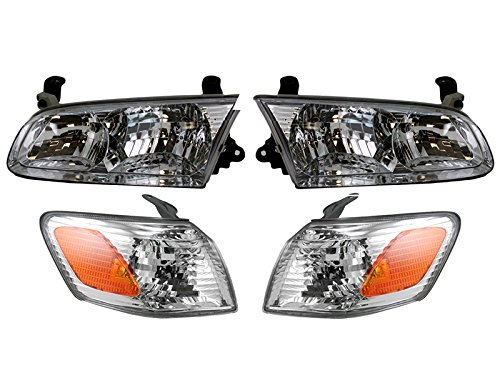Toyota Camry Right Headlight - Toyota Camry 2000 2001 00 01 Head Corner Park Light Lamp With Bulb 4 Piece Set