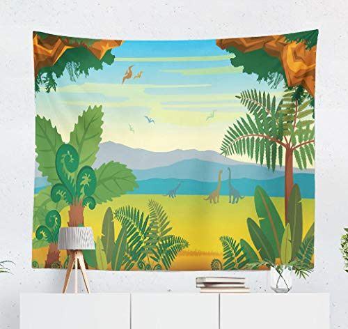 KJONG with Animals and Landscape with Silhouette Mountains and Green Plants Decorative Tapestry,50X60 Inches Wall Hanging Tapestry for Bedroom Living Room ()