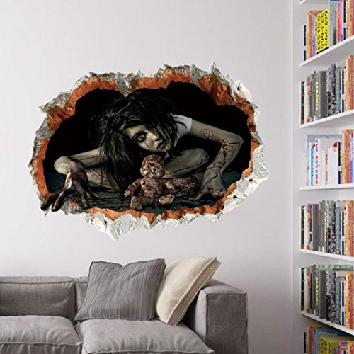 Elevin(TM) Halloween 3D Self Adhesive Wall Stickers Remove Wall Decal Paper Art Home Decor (C)
