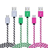 Micro USB Cable, CableLovers 3-Pack 6ft/2m High Speed Nylon Braided Cable Charging/Sync Data Durable for for Android/Samsung Galaxy S7/S6 Edge, Moto,PS4, XBOX, Windows/MP3/Camera/Echo Dot and more. For Sale
