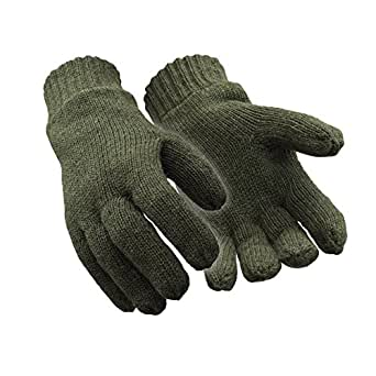 RefrigiWear Insulated Fleece Lined Wool Gloves, Green Large