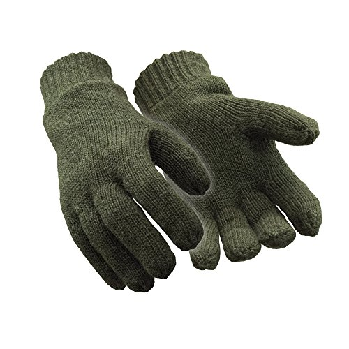 RefrigiWear Insulated Fleece Lined Wool Gloves Green Large - Wool Military Glove