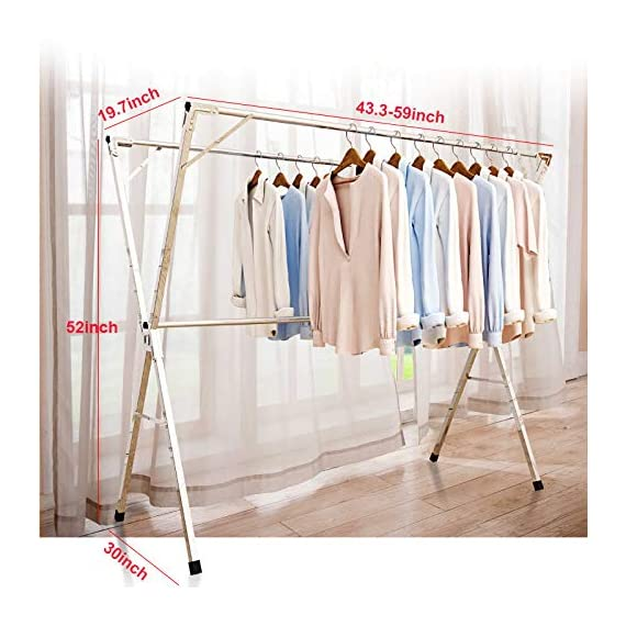 Reliancer Free Installed Clothes Drying Rack Stainless Steel Foldable Rack Hanger Space Saving Retractable 43.3-59 inch Clothes Rack Adjustable Clothes Hanger Rolling Rack with 4 Casters & 10 Hooks - 【All Stainless Steel Construction】The material including the fastenings is rust-proof stainless steel, perfect for indoor or outdoor drying, will not rust even under rainy environment 【Extensible Horizontal Rods】Both rods can be extended from 43.3'' to 59'', the max size is 59x30x52 inch, add more room for longer garments like pants and long dresses 【Free Installation and Save Space】Retractable and foldable, easy to open and fold for compact storage to save space, no need tools to install. The folding size is just 59x4.72x3.54 inch. You can just put it in any small corner when you do not need - laundry-room, entryway-laundry-room, drying-racks - 51riCK4lJfL. SS570  -