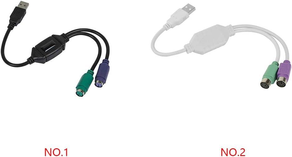 2 Teclado Rat/ón Cable a Cable Adaptador convertidor del Divisor Conector USB Convertidor USB Adaptador de Teclado y rat/ón Regard 2-en-1 PS