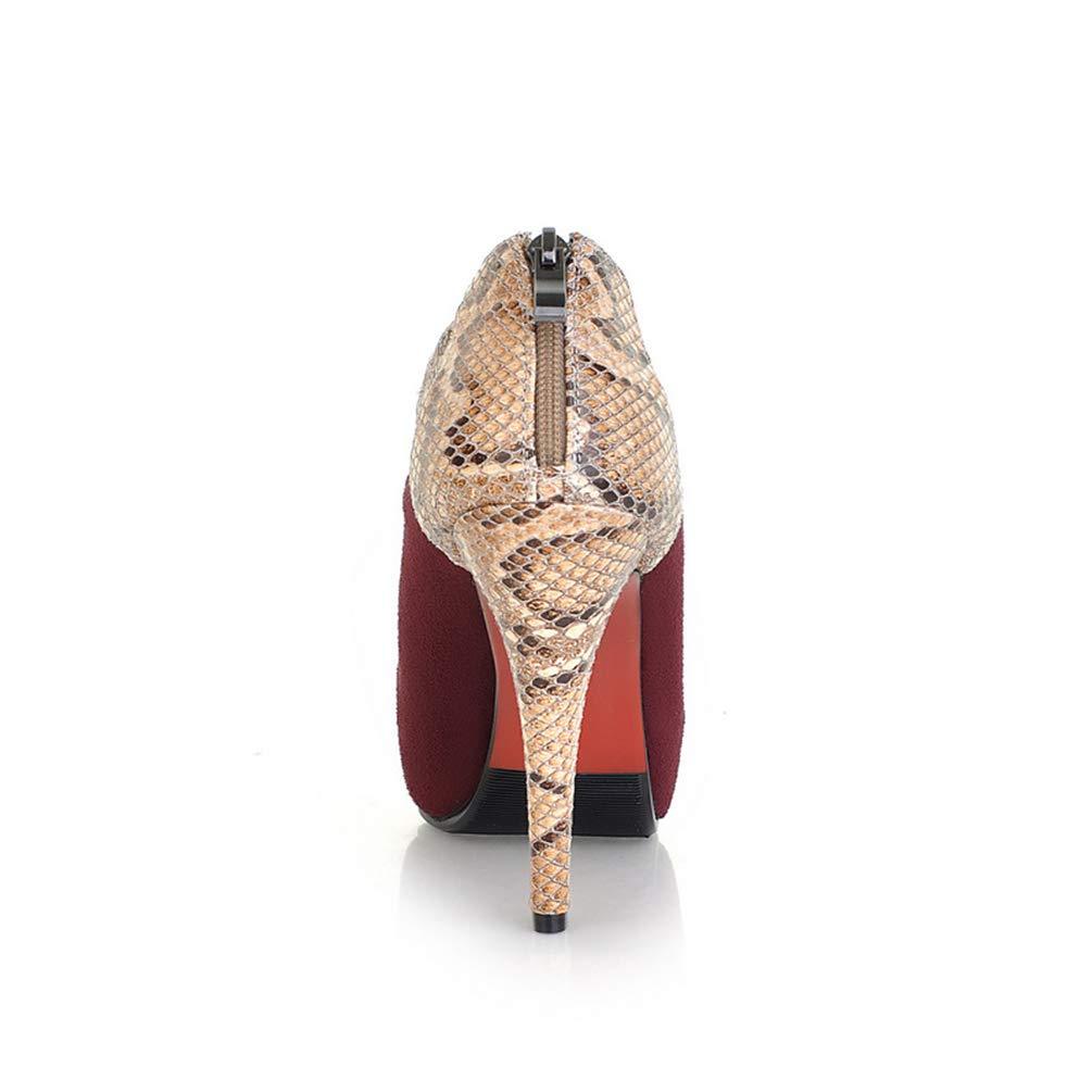 Frauen-Plattform High-Heels-Party High-Heels-Party High-Heels-Party Pumps Runde Zehen-Court-Schuhe Zip Thin Heels Stilettos 7d9a6d