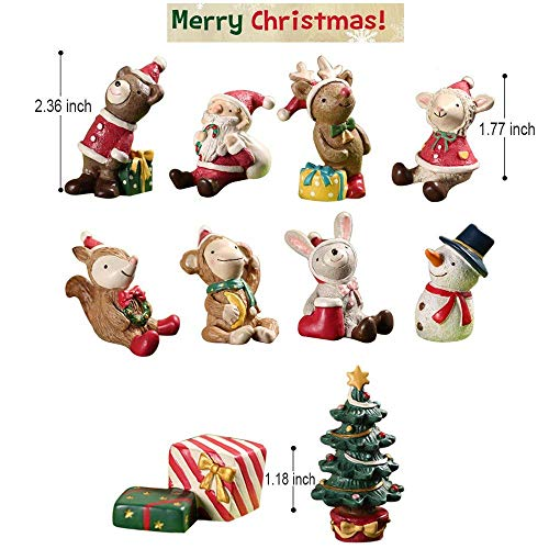 ElementDigital Resin Mini Animals Snowman Santa Claus Christmas Tree Micro Garden Landscape Plant Pot Craft Dollhouse 10 PCS Decor Toys Xmas Gifts for Girls Boys Kids