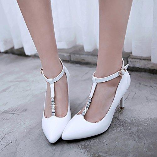 Uh A Sexy Pointu Blanc Strass Aiguilles Femmes Cm Talon Avec Cheville L'ete Pour De Bout 8 Escarpins Moyennes Bride UIAwInxWqr