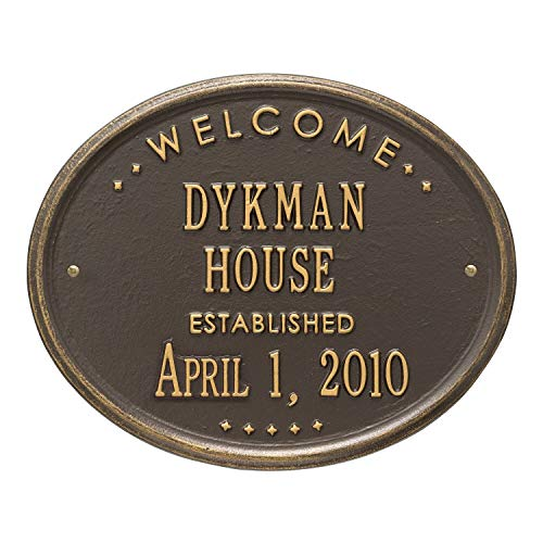 JMiY Welcome Oval House Established Personalized Plaque Perfect for Wedding, Anniversary or Housewarming Gift (Bronze/Gold)