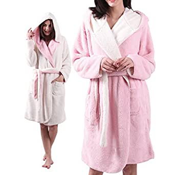 ALL AOER Hooded Bathrobe for Womens, Sleepwear Reversible Ladies Short Sherpa Robes, Pink-Ivory Cozy Lightweight by (One Size fits Most, Khaki-Ivory)