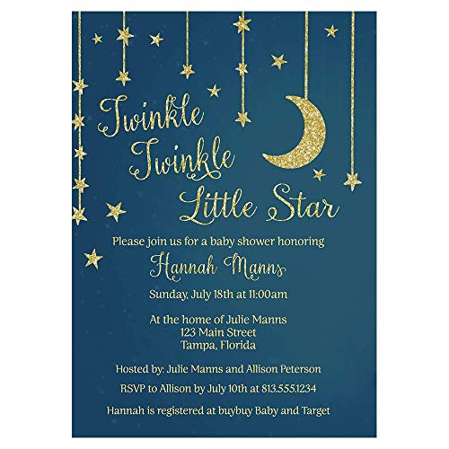 (Star and Moon Baby Shower Invitation Twinkle Little Star Sprinkle Invites Gold Navy Blue Stars Golden Glitter Sparkle Boys It's A Boy (10 Count) )
