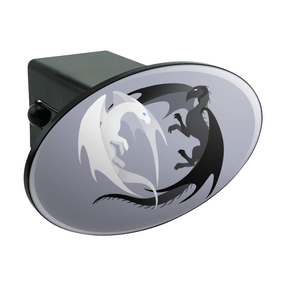 Graphics and More Dragons in Love Oval Tow Hitch Cover Trailer Plug Insert 2
