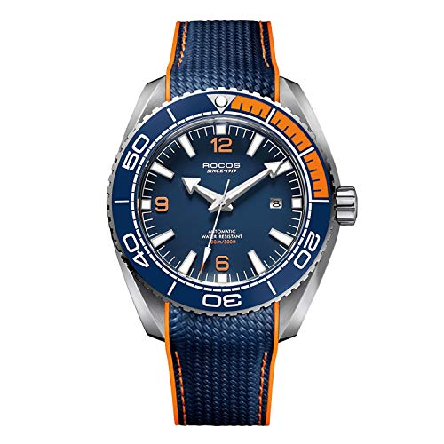 ROCOS Watches for Men - Pro Diver Watch - Sports Watch for Men with Screw Down Crown for 330 Ft. of Water Resistance - Analog Dial, Automatic Movement - Mens Watches Collection (2 - Blue&Orange)