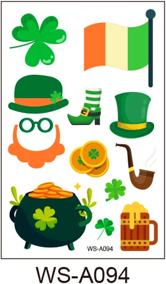 Yu-Xiang 10 Pcs St Patricks Day Sticker Shamrock Sticker Room Decoration Leprechaun Self Adhesive Label Stickers Craft Supplies Party Favors Present Gift Decoration Clover