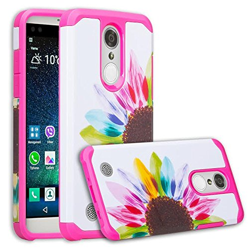 LG Rebel 3 LTE Case, LG Aristo Case, LG Phoenix 3 Case, LG Fortune Case, LG Rebel 2 LTE Case, LG Risio 2 Case, LG K8 2017 Case Hybrid Dual Layer Armor Defender Protective Case Cover - Sun Flower (Phoenix Case Suns Phone Cellular)