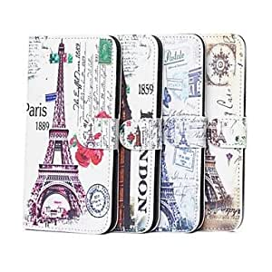 PEACH Rose Flower and Flower Tower Pattern PU Leather Case with Stand and Card Slot for iPhone 6 , 3