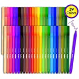 Fineliner Color Pen Set - 24 Colored Pens, 0.4 mm Fine Point Pens Drawing Pen, Perfect for Writing in Notebook/Dotted Journal/Planner