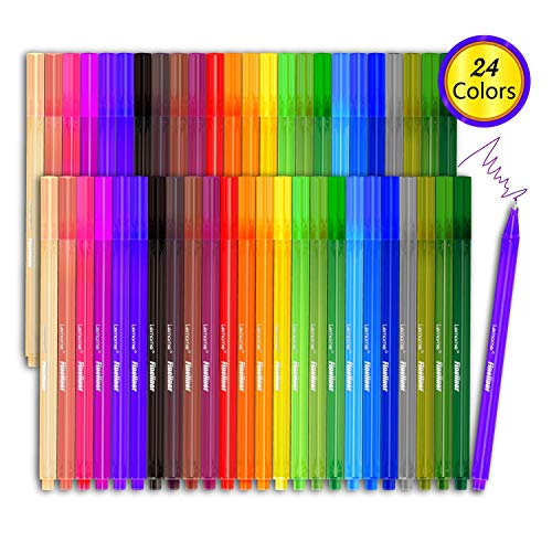 Fineliner Color Pen Set - 24 Colored Pens, 0.4 mm Fine Point Pens Drawing Pen, Perfect for Writing in Notebook/Bullet Journal/Planner