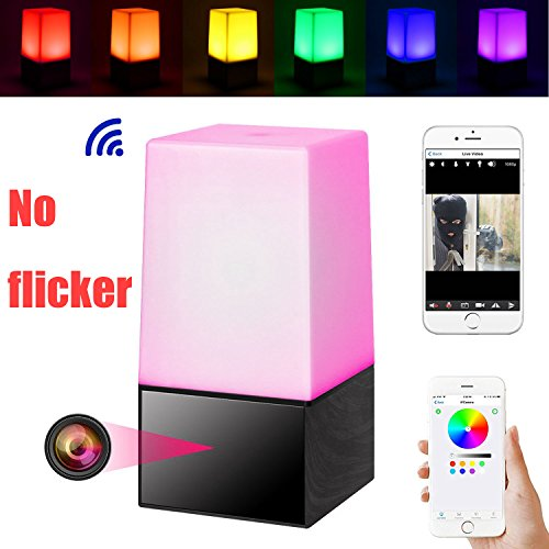 Color Nanny Camera - Night Light Hidden Camera WiFi HD 1080P smart LED lamp Spy Nanny Cam Wireless Mini Camera with Night Vision/Motion Detection/Loop Recording/Real-Time View Security Camera for Home Office Surveillance