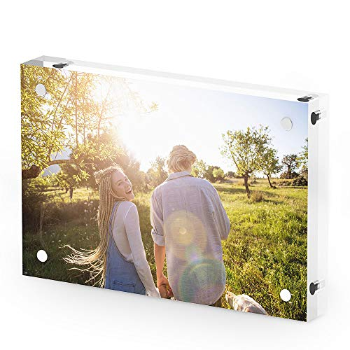 T ATHINK 4x6 Magnetic Acrylic Picture Frame, Crystal Clear & Free Standing & Double Side Desktop Photo Frame