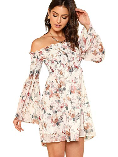 ROMWE Women's Casual Floral Print Off Shoulder Trumpet Sleeve Swing Dress XS White