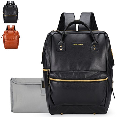 Classic Black Leather Baby Diaper Laptop Bag Backpack, Unise