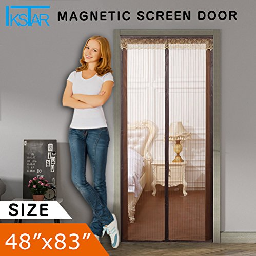 Magnetic Screen Door IKSTAR Mesh Curtain,Full Frame Velcro Hand Free Close and Open Automatically Fits Door Up To 46x82